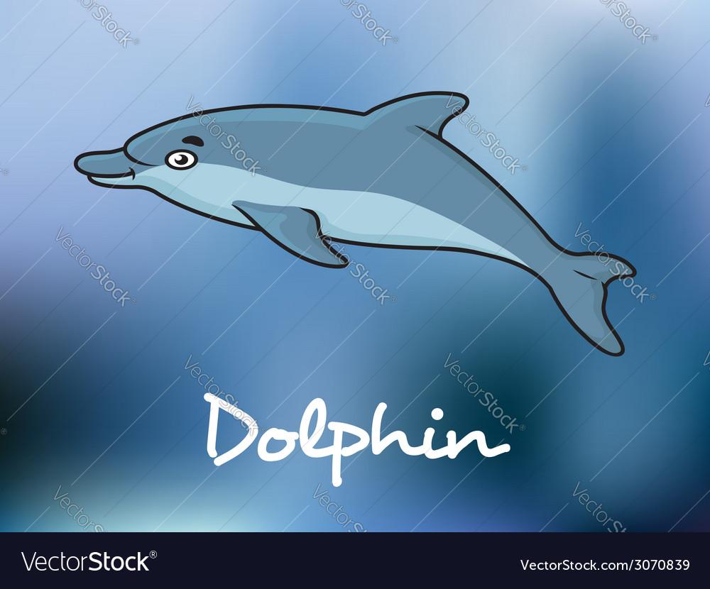 Cute cartoon dolphin in ocean water vector | Price: 1 Credit (USD $1)