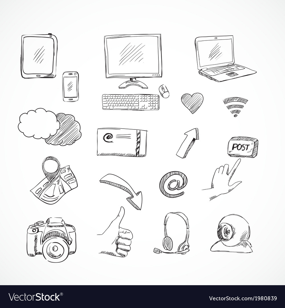 Doodle social media icons set vector | Price: 1 Credit (USD $1)