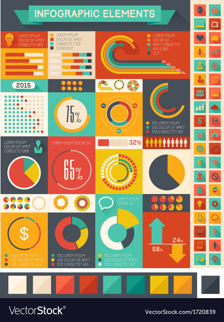 Flat infographic elements vector | Price: 1 Credit (USD $1)