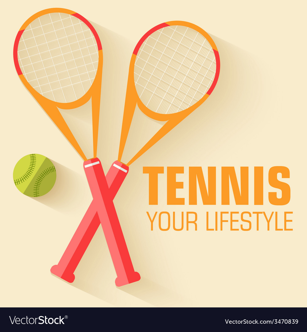 Flat sport tennis icon background concept d vector | Price: 1 Credit (USD $1)