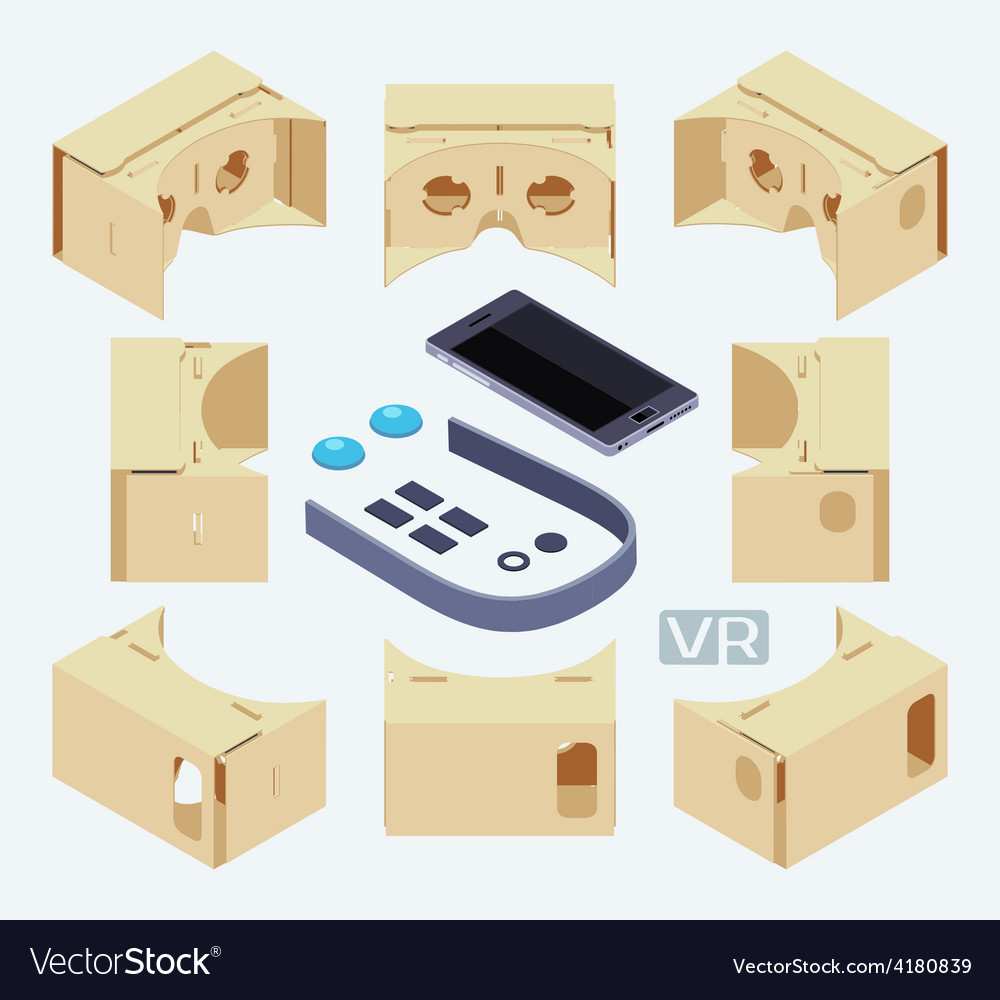 Isometric parts of the cardboard virtual reality vector | Price: 1 Credit (USD $1)