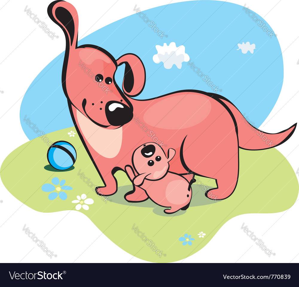 Mama dog vector | Price: 1 Credit (USD $1)
