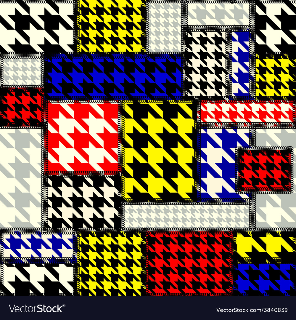 Patchwork with houndstooth pattern in retro style vector | Price: 1 Credit (USD $1)