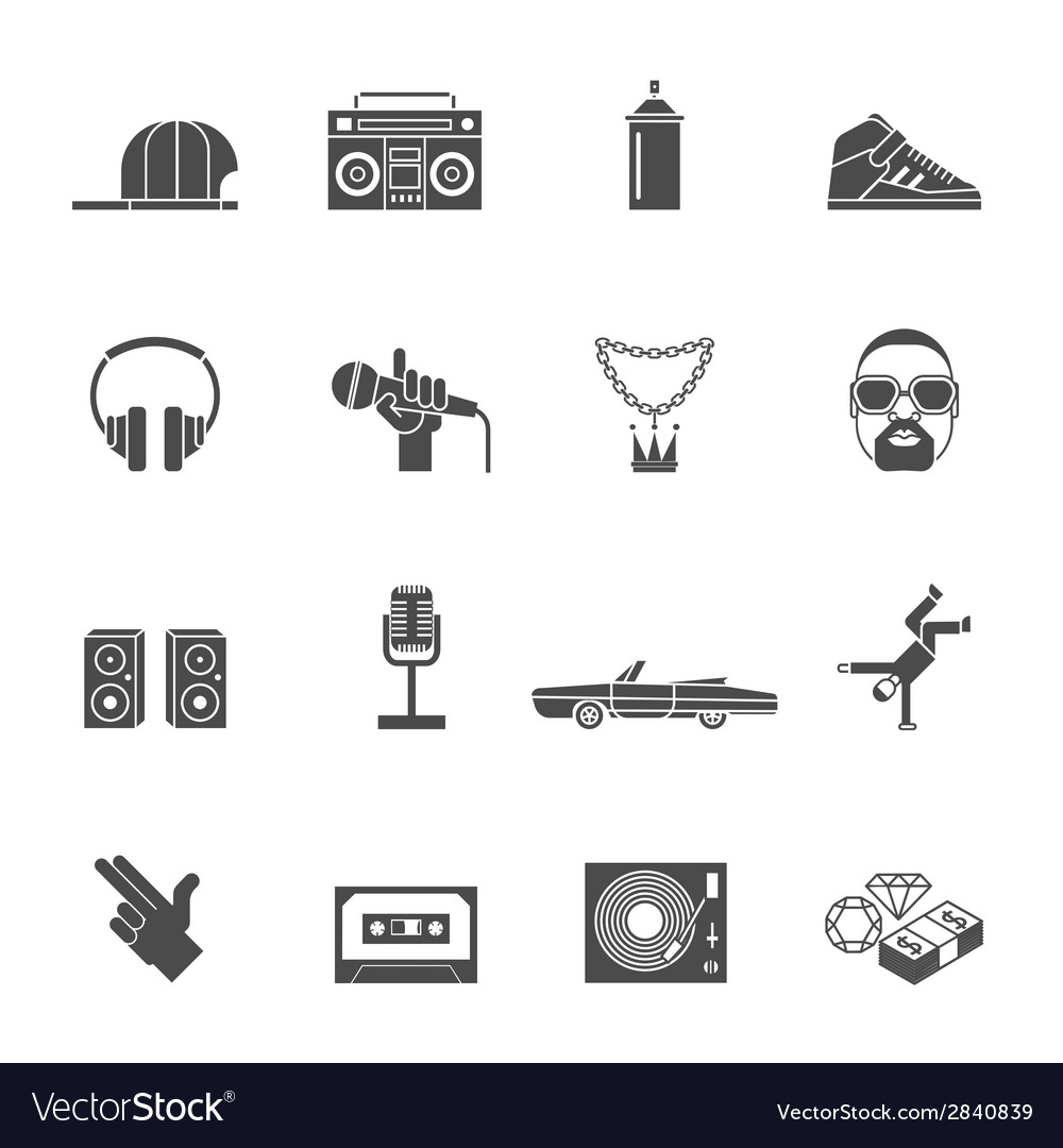 Rap music icons set vector | Price: 1 Credit (USD $1)