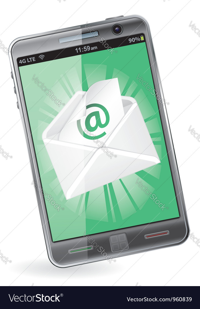 Smart phone with e-mail vector | Price: 3 Credit (USD $3)