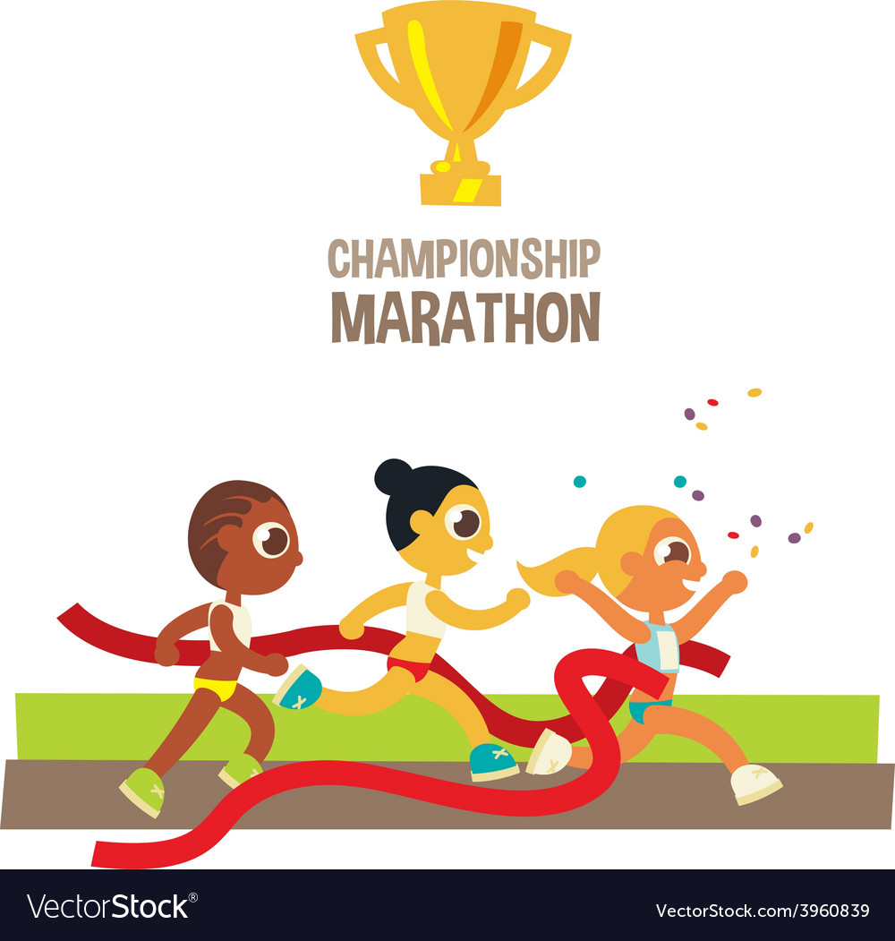 Women championship marathon runners vector | Price: 1 Credit (USD $1)