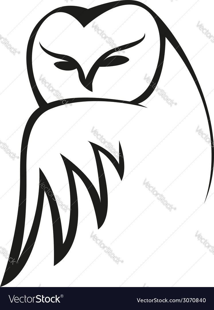 Black and white doodle owl sketch vector | Price: 1 Credit (USD $1)