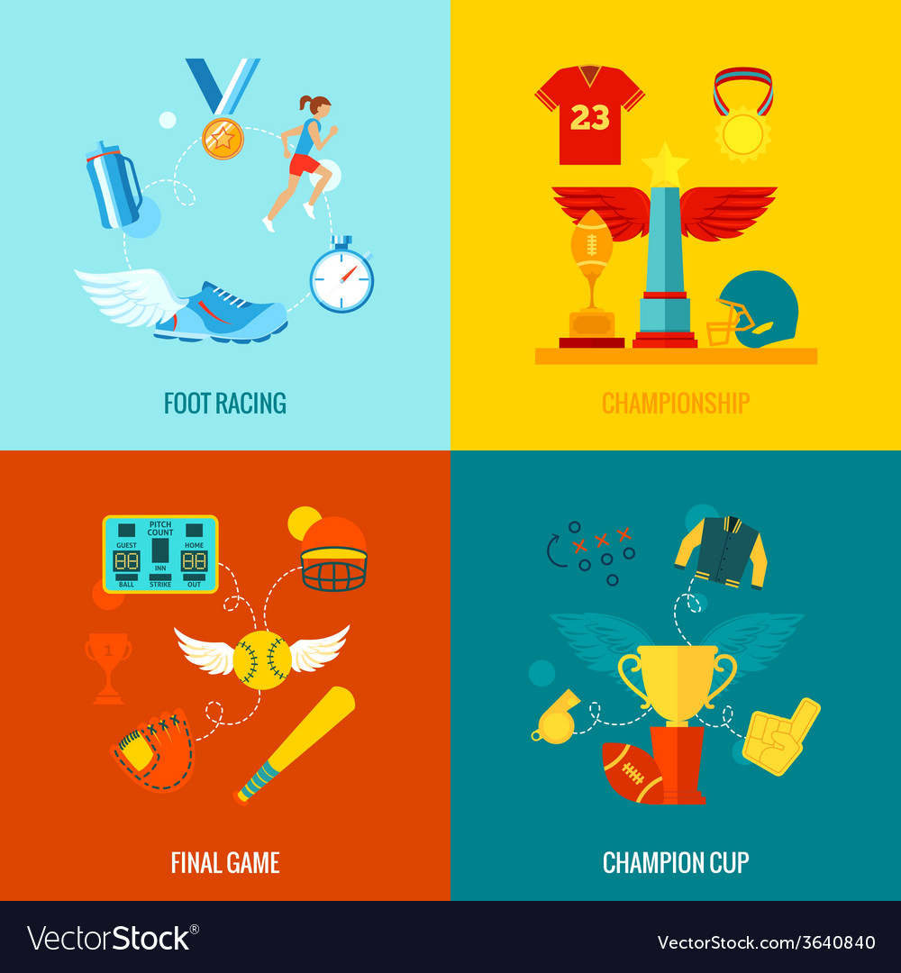 Championship icons flat vector | Price: 1 Credit (USD $1)