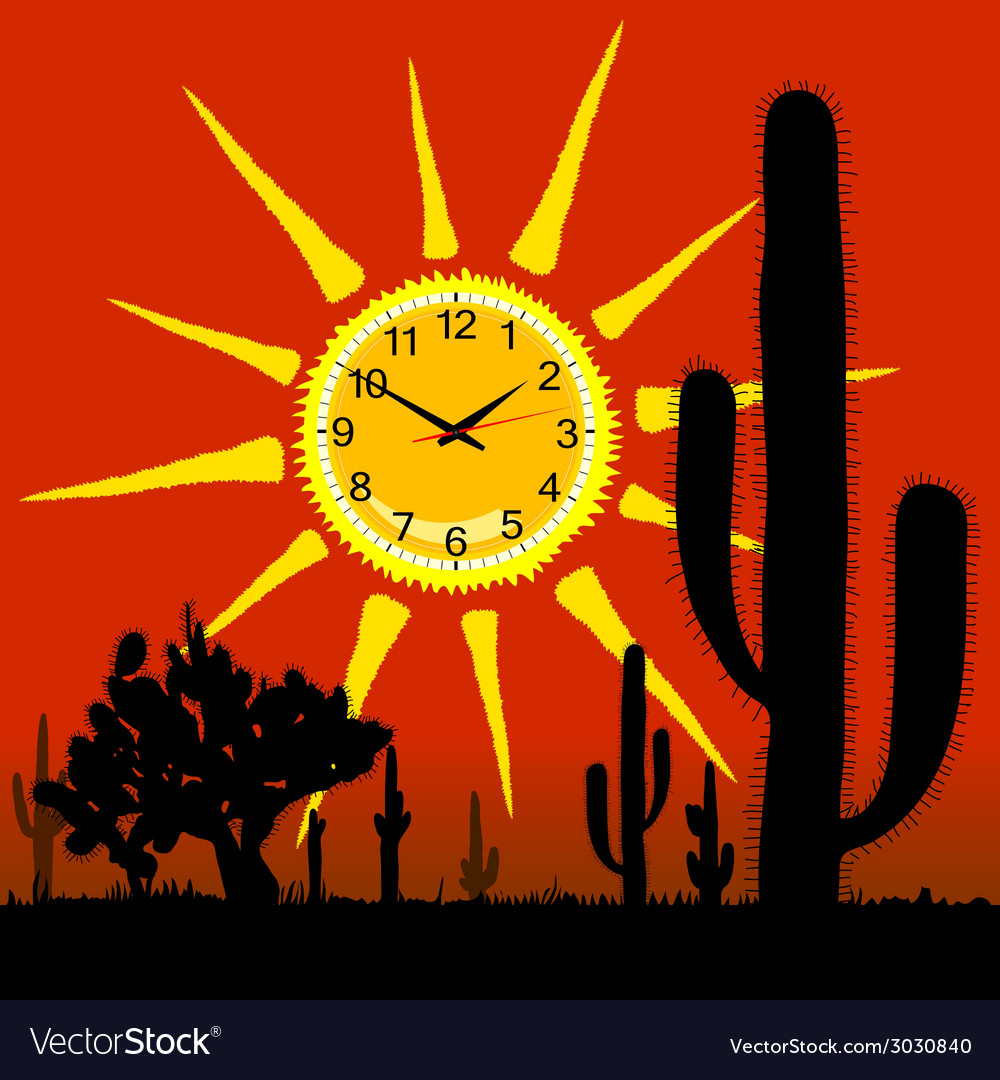 Clock in the sun and cactus vector | Price: 1 Credit (USD $1)