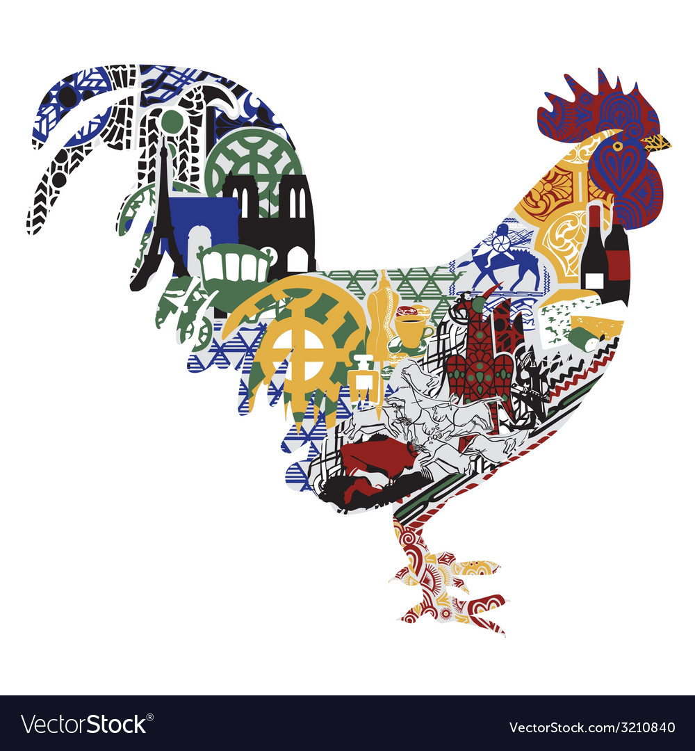 Cock with patterns francs vector | Price: 1 Credit (USD $1)
