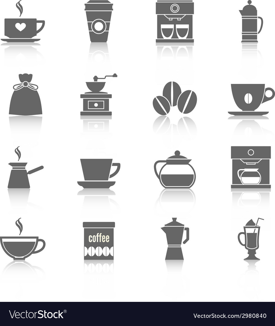 Coffee icons black vector | Price: 1 Credit (USD $1)