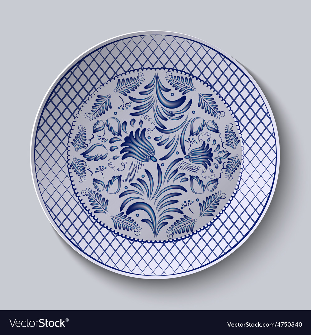 Decorative ceramic plate with a painting floral vector | Price: 1 Credit (USD $1)