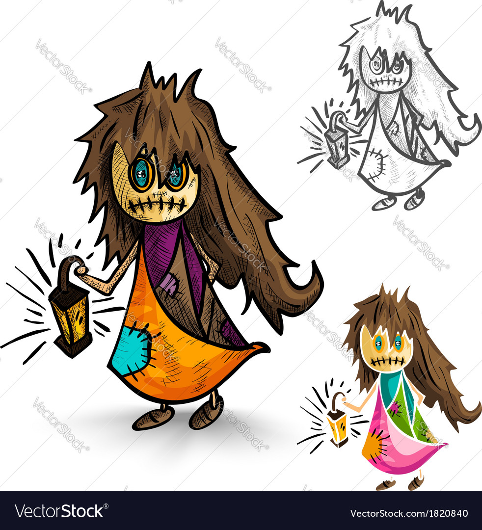 Halloween monsters isolated sketch style witches vector | Price: 1 Credit (USD $1)
