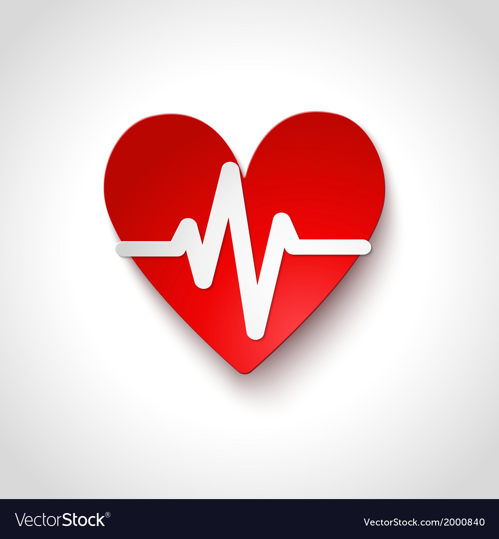 Heart rate emblem icon isolated vector | Price: 1 Credit (USD $1)