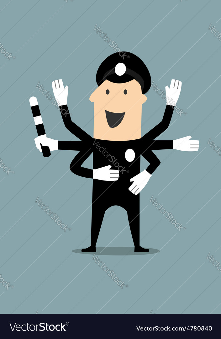 Policeman in uniform with many hands vector | Price: 1 Credit (USD $1)