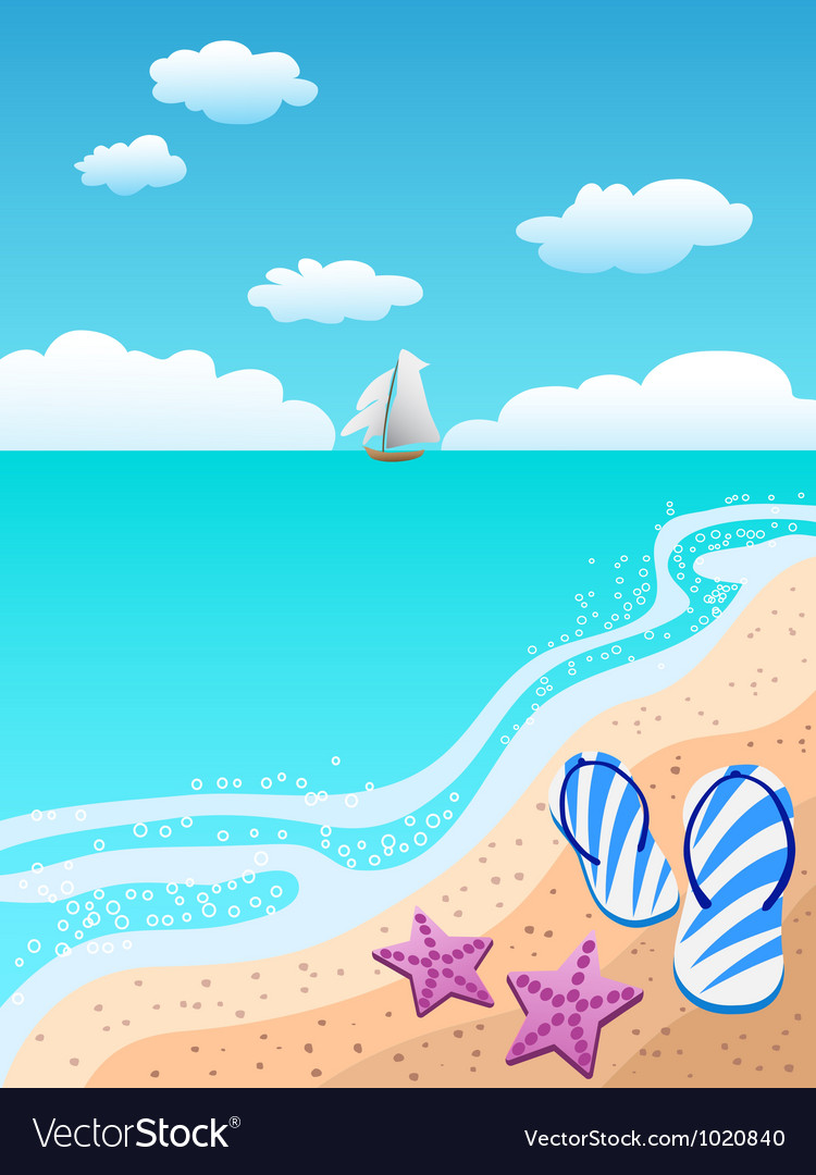 Sandals on the beach vector | Price: 1 Credit (USD $1)
