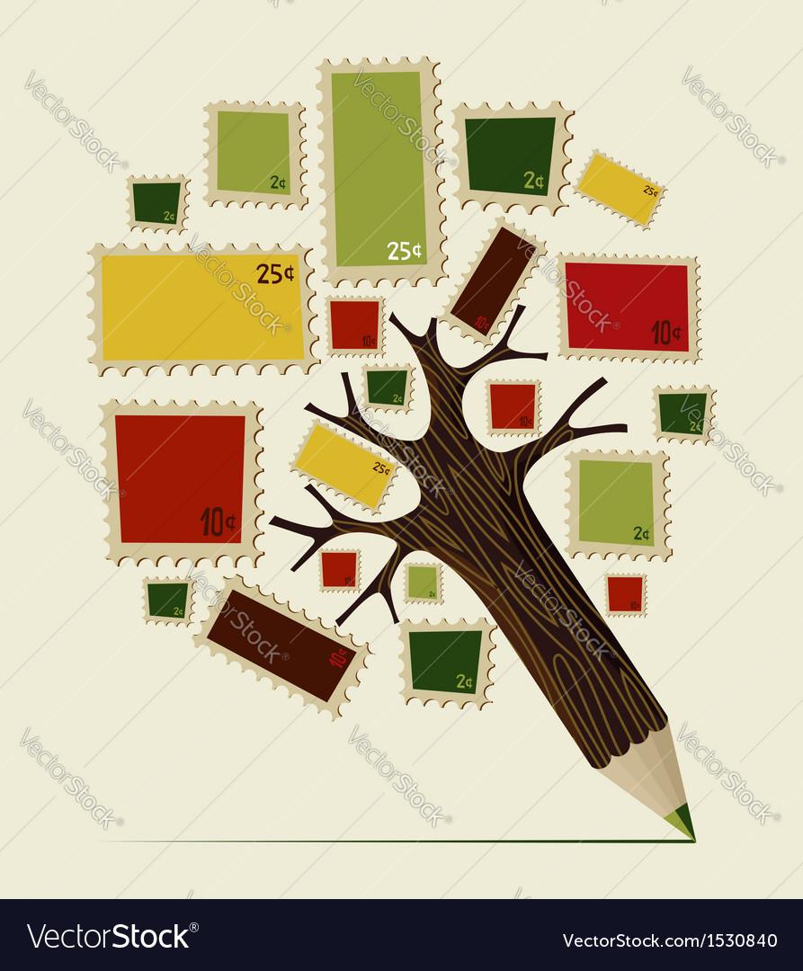 Stamp icon pencil tree concept vector | Price: 1 Credit (USD $1)