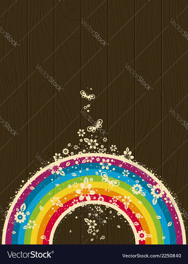 Wooden background with rainbow and flowers vector | Price: 1 Credit (USD $1)