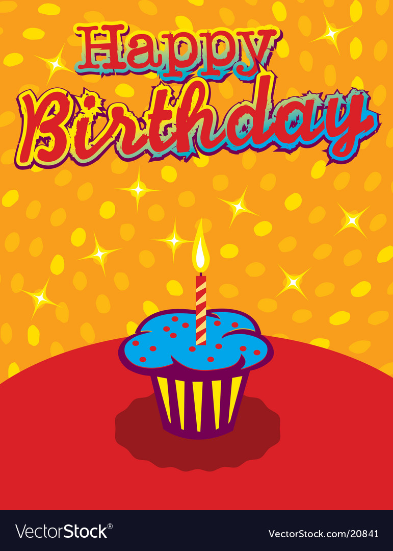 Birthday cupcake background vector | Price: 1 Credit (USD $1)