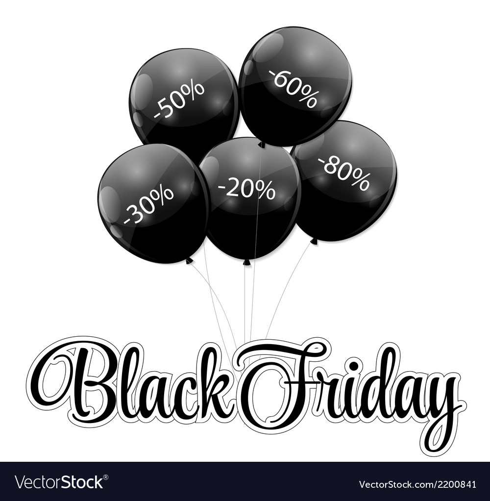 Black friday sale icon with balloons vector | Price: 1 Credit (USD $1)