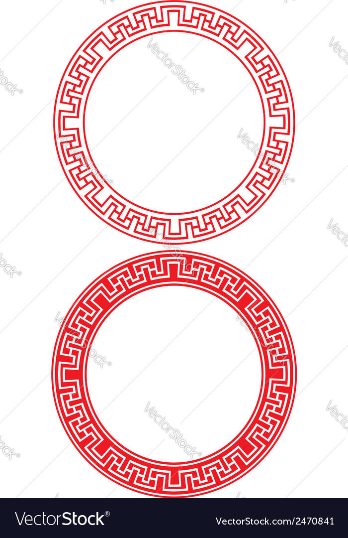 Chinese circle ornament vector