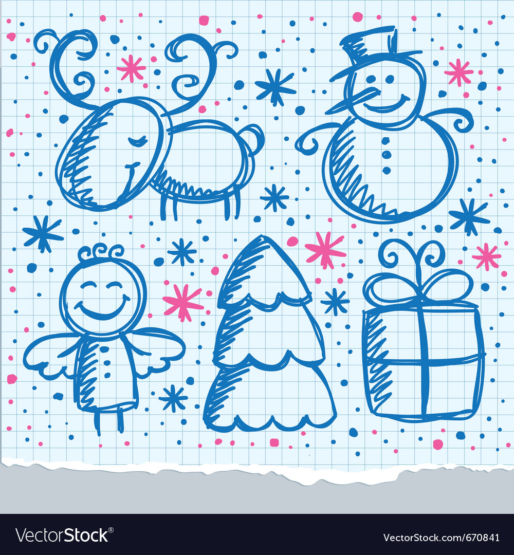 Christmas hand drawn design vector | Price: 1 Credit (USD $1)
