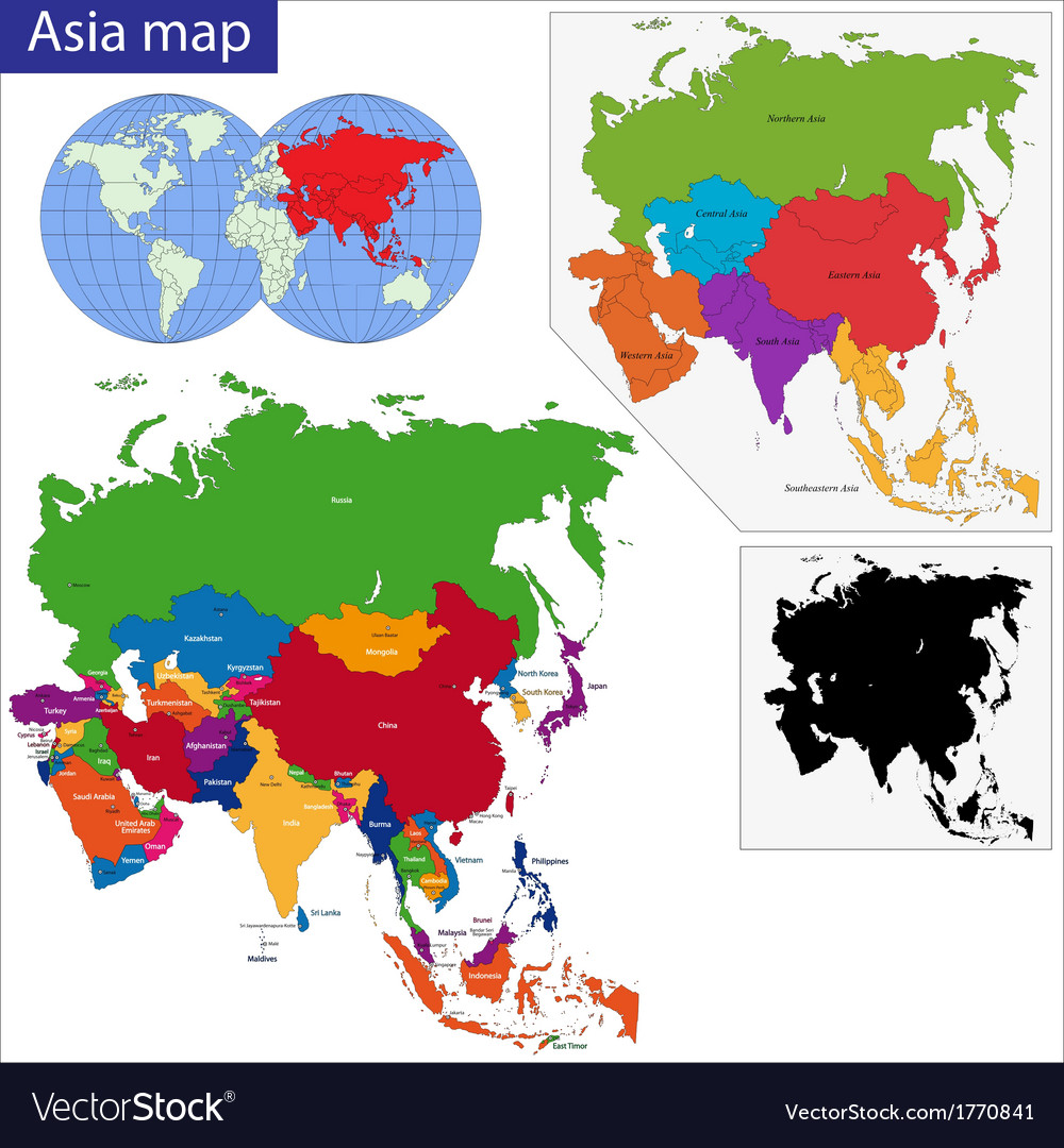 Colorful asia map vector | Price: 1 Credit (USD $1)