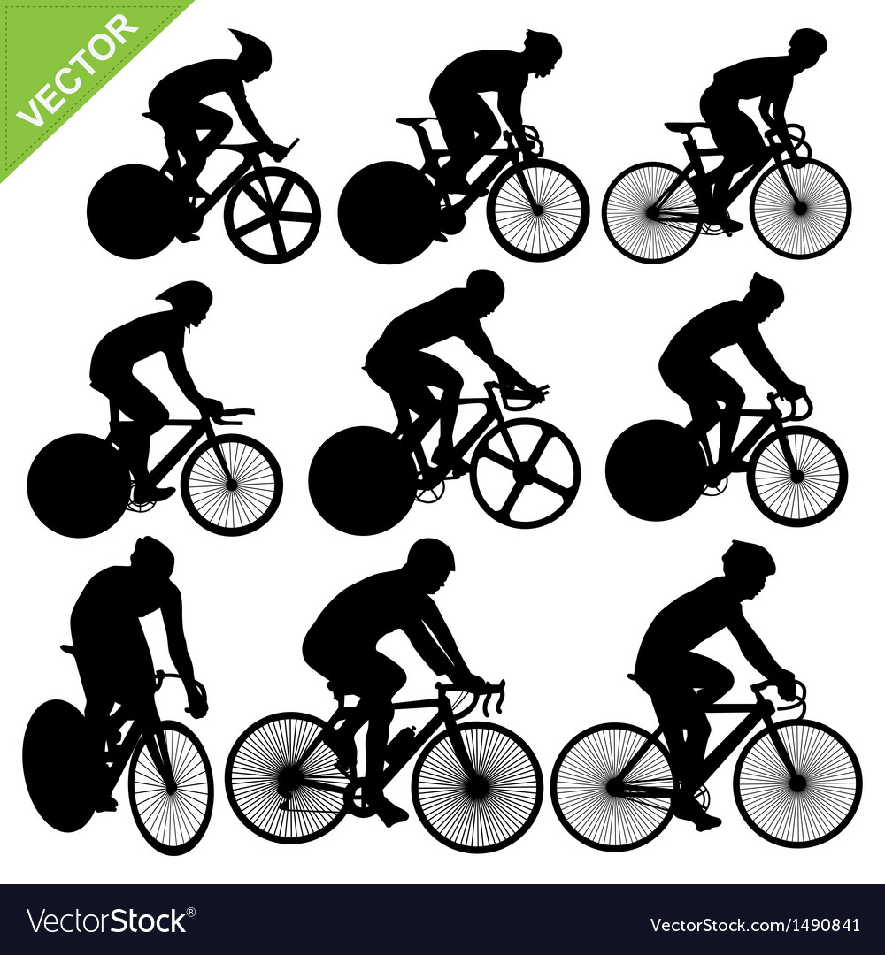 Cycling silhouettes vector | Price: 1 Credit (USD $1)