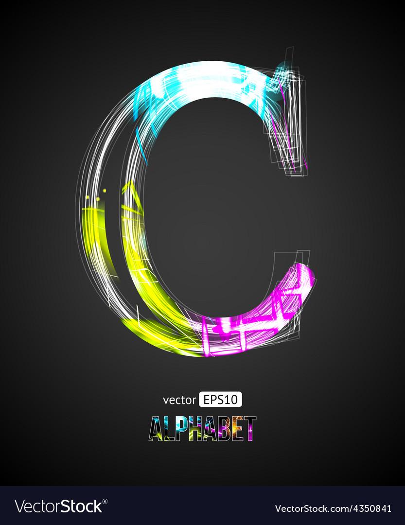 Design light effect alphabet letter c vector | Price: 1 Credit (USD $1)
