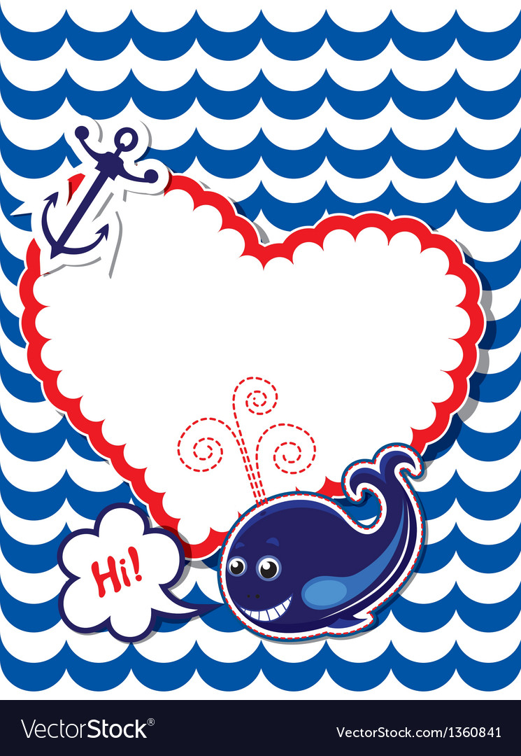 Funny card with whale anchor and empty frame vector | Price: 1 Credit (USD $1)