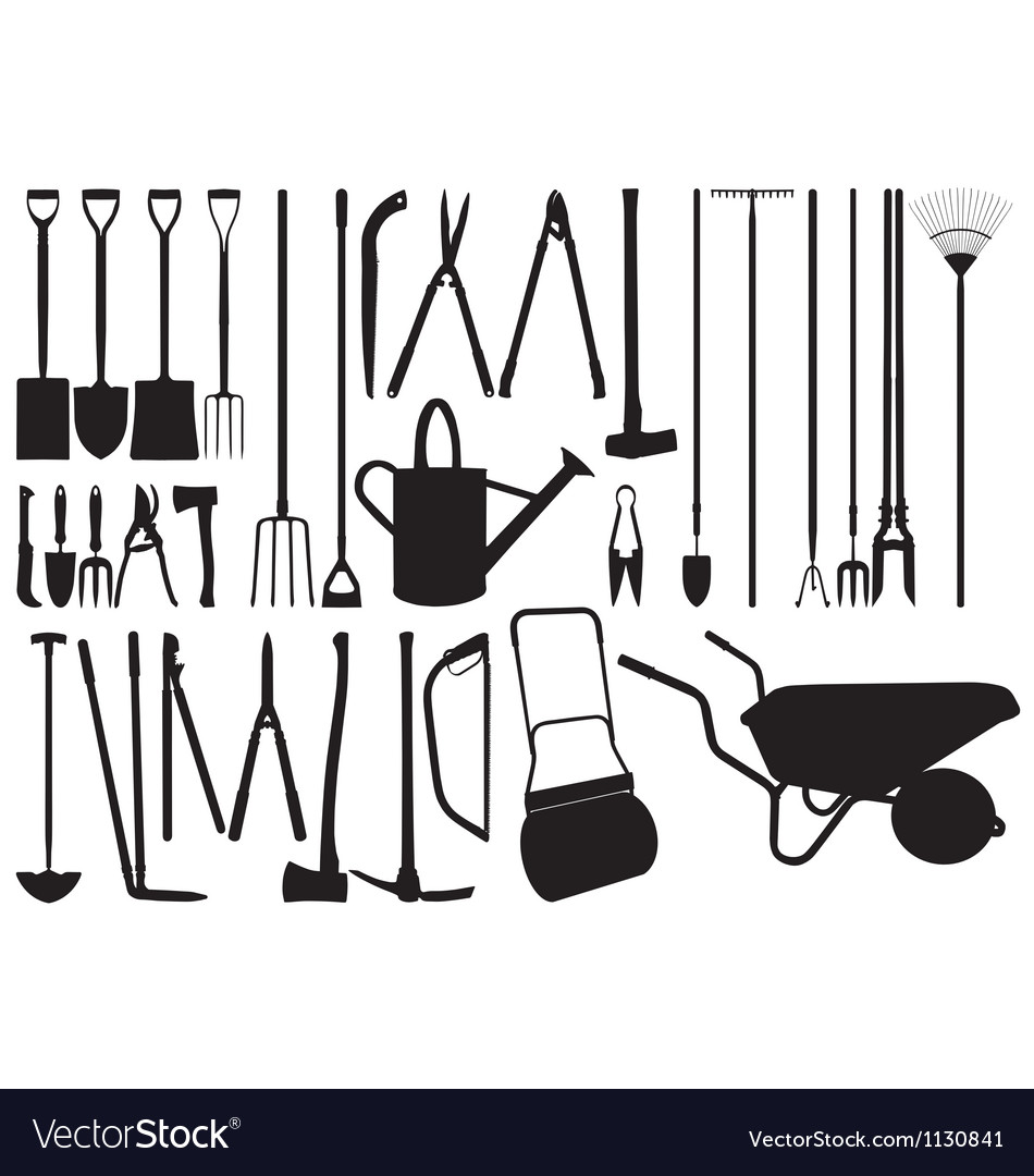 Gardening hand tool silhouettes vector | Price: 1 Credit (USD $1)