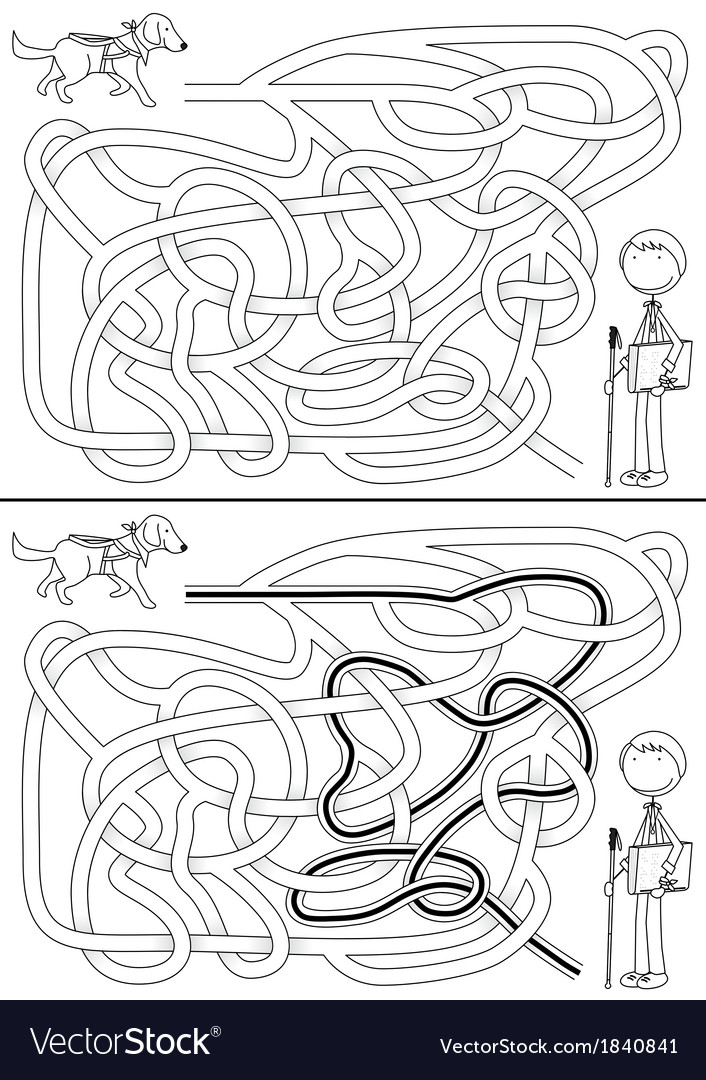 Guide dog maze vector | Price: 1 Credit (USD $1)