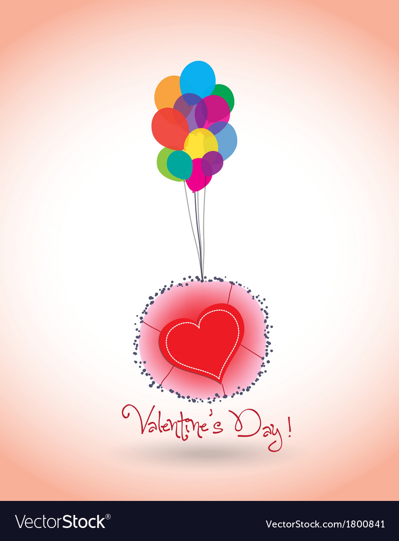 Happy valentine balloons and heart vector | Price: 1 Credit (USD $1)