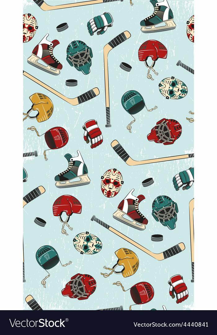 Hockey seamless pattern vector | Price: 1 Credit (USD $1)