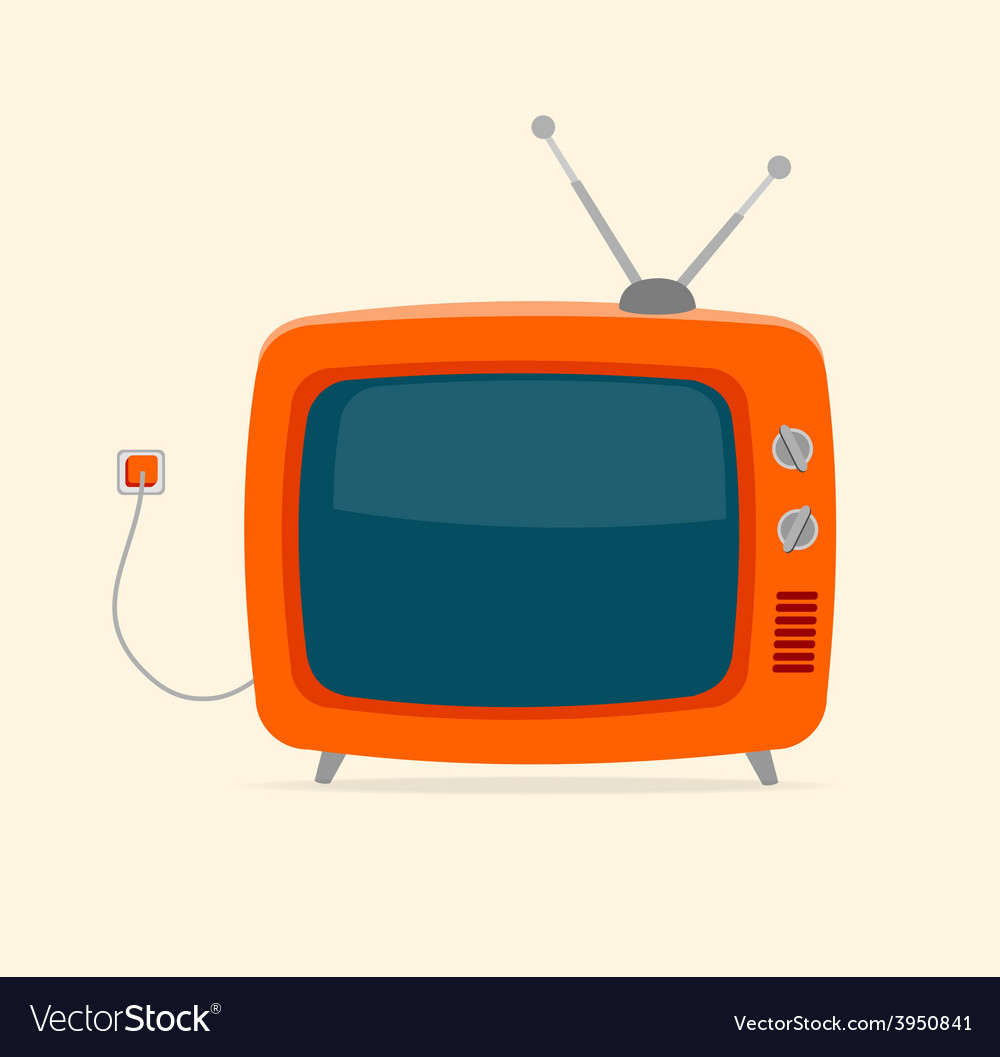 Red retro tv with wire flat design vector | Price: 1 Credit (USD $1)
