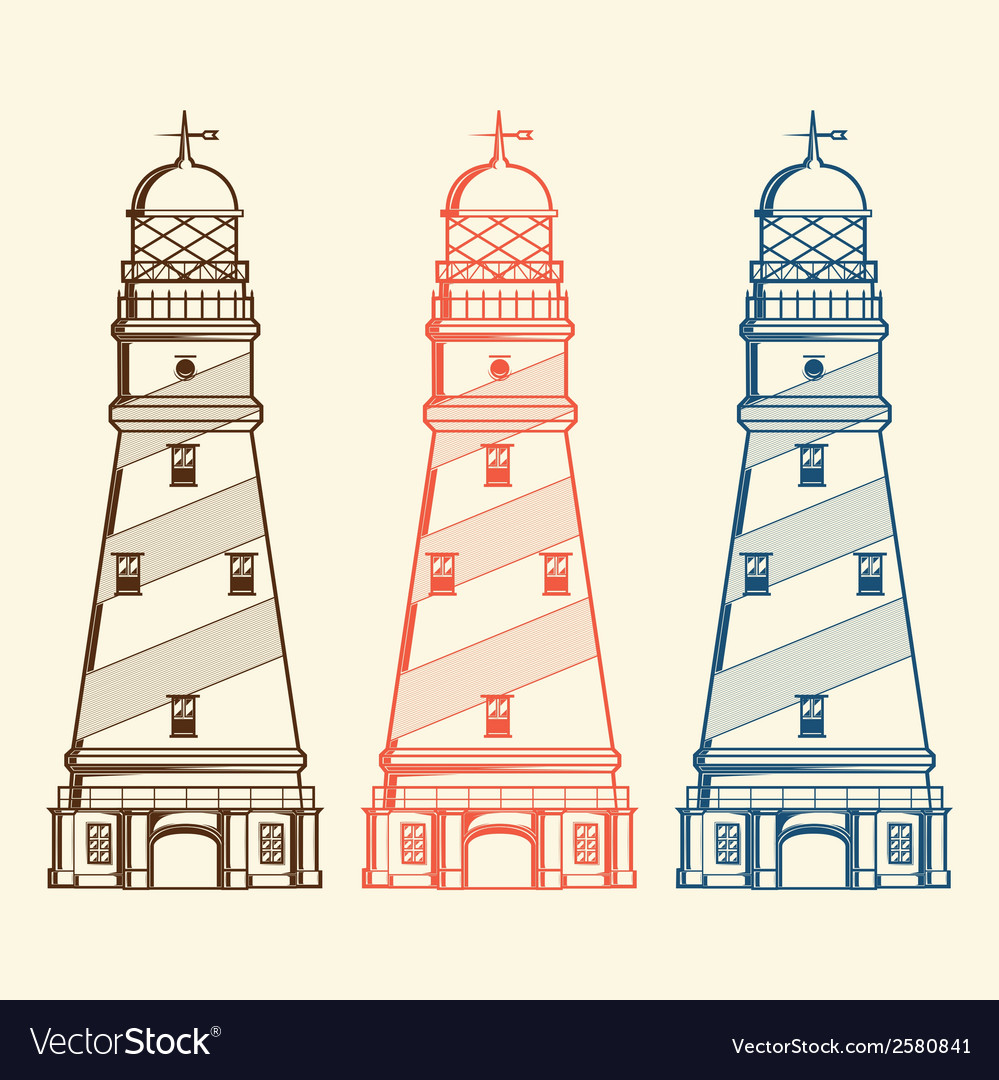 Retro lighthouses set vector | Price: 1 Credit (USD $1)