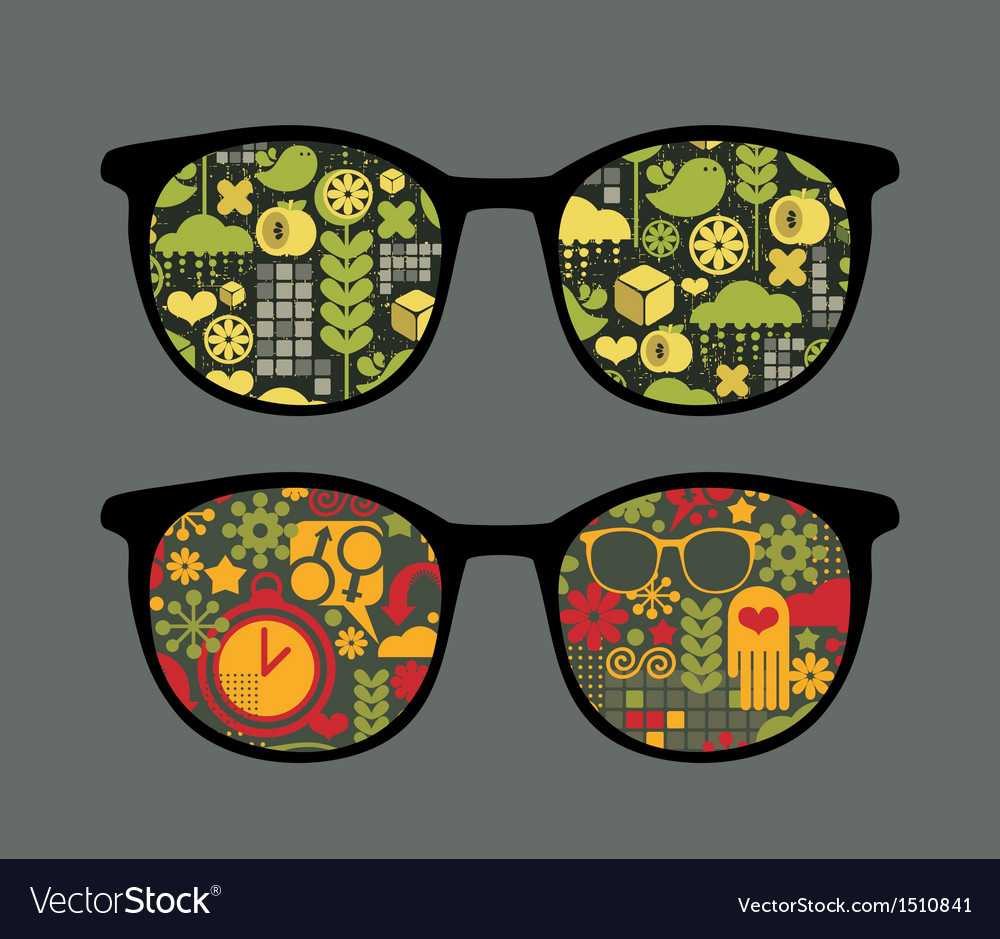 Retro sunglasses with patterns reflection in it vector | Price: 1 Credit (USD $1)