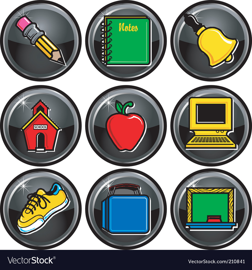 School icon buttons vector | Price: 1 Credit (USD $1)