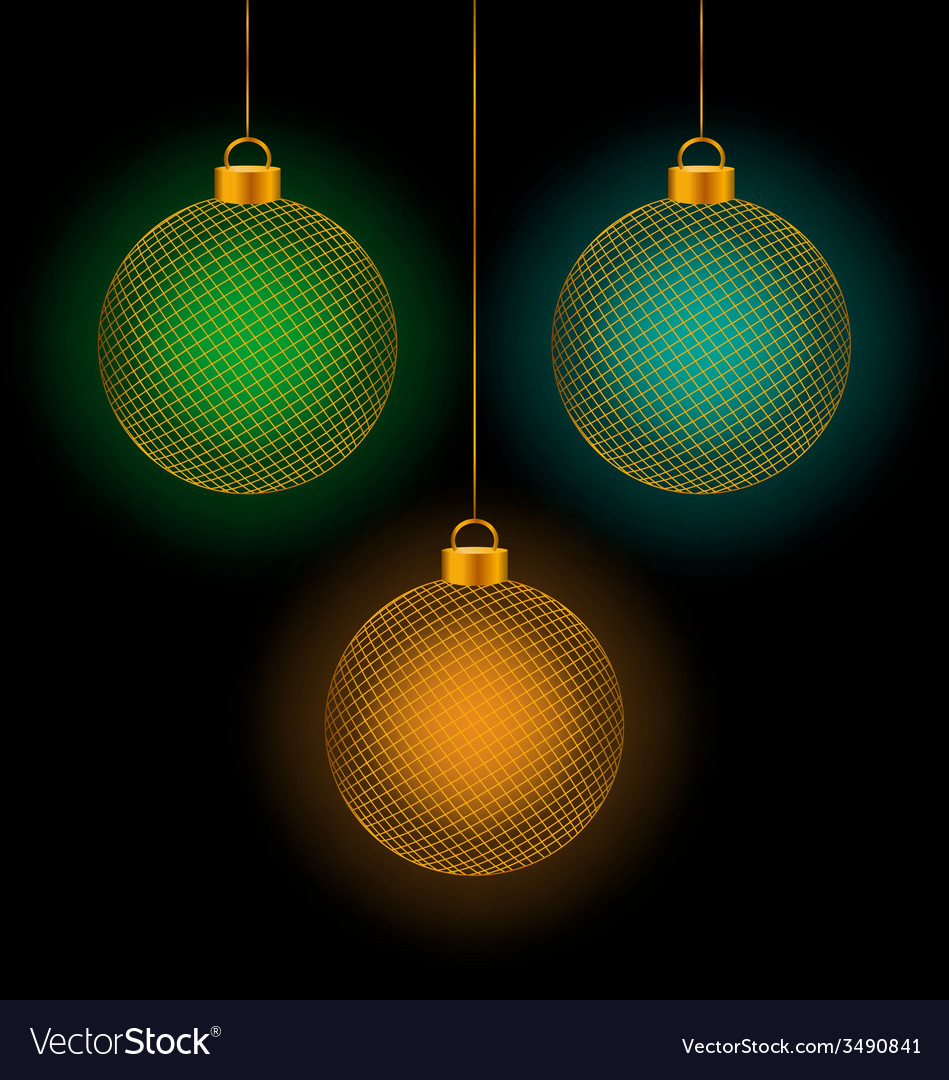 Self-illuminated christmas balls on black vector | Price: 1 Credit (USD $1)