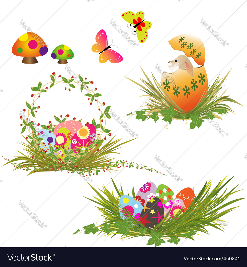 Set of easter holiday collection vector | Price:  Credit (USD $)