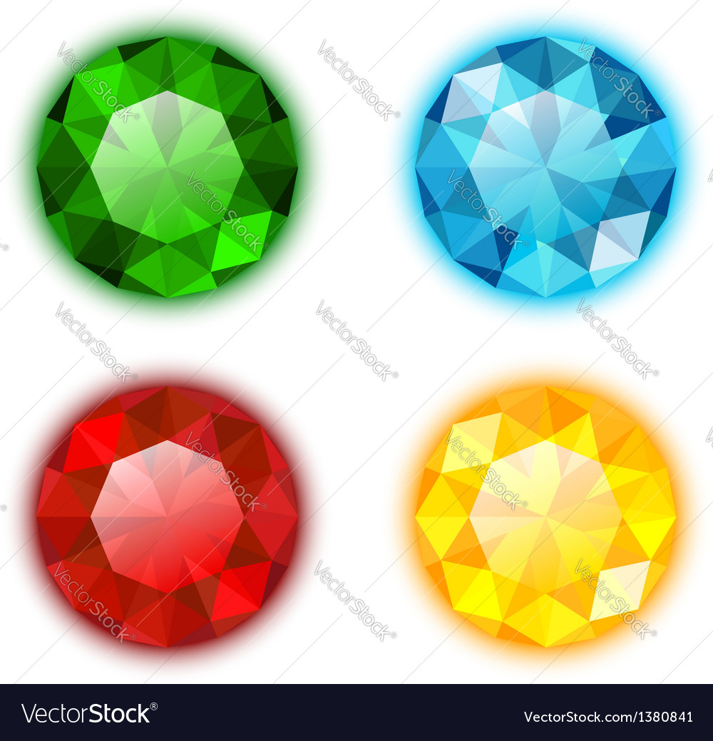 The set of four colorful jewels vector | Price: 1 Credit (USD $1)
