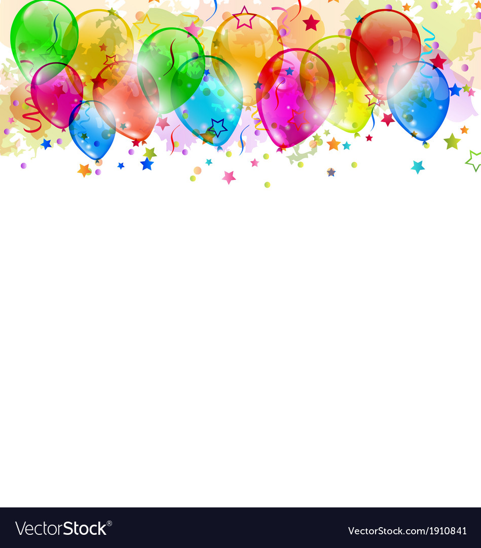 Set party balloons confetti with space for text vector   Price: 1 Credit (USD $1)