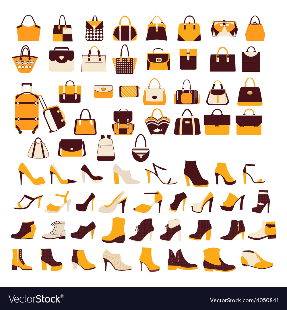 Silhouette icon set bag shoes vector | Price: 1 Credit (USD $1)