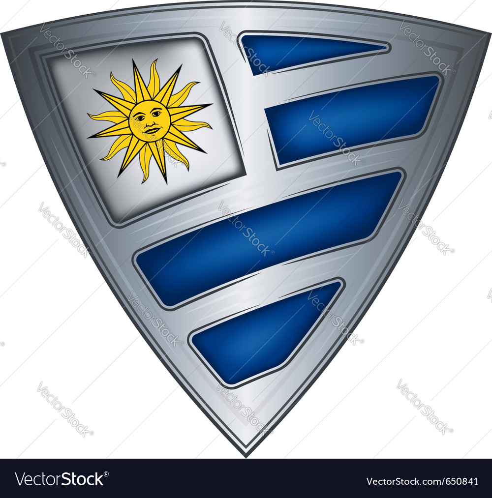 Steel shield with flag uruguay vector | Price: 1 Credit (USD $1)