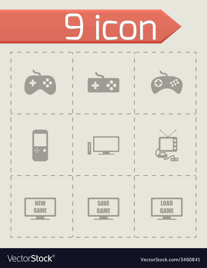 Video game icon set vector | Price: 1 Credit (USD $1)