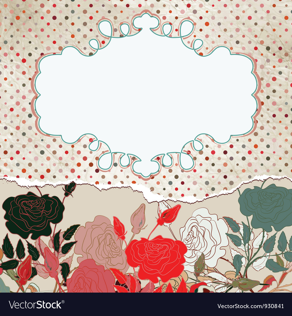 Vintage floral rose card vector | Price: 1 Credit (USD $1)