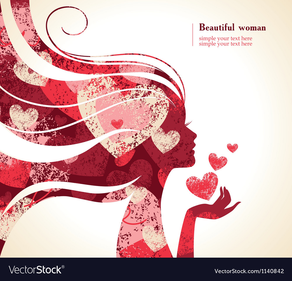 Beautiful girl silhouette with a hearts vector | Price: 1 Credit (USD $1)