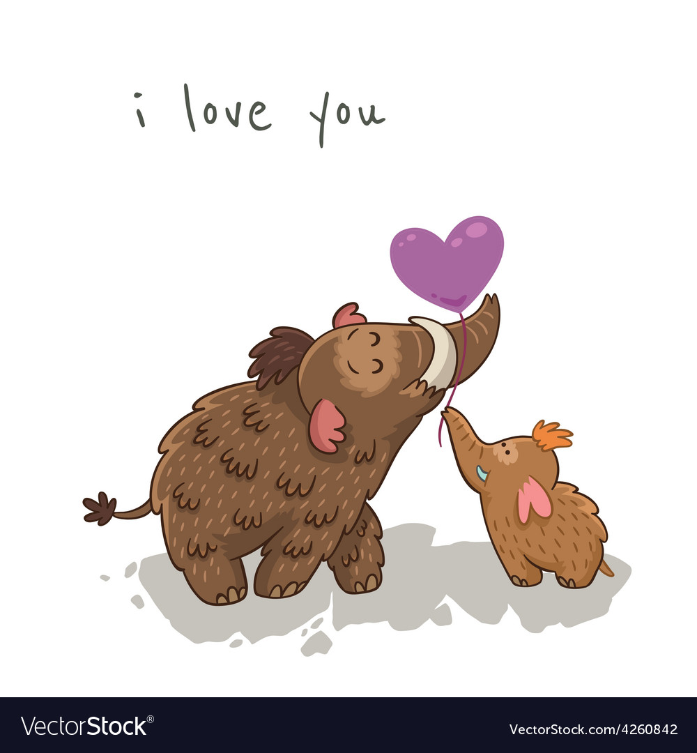 Cute cartoon card with mammoth vector | Price: 1 Credit (USD $1)