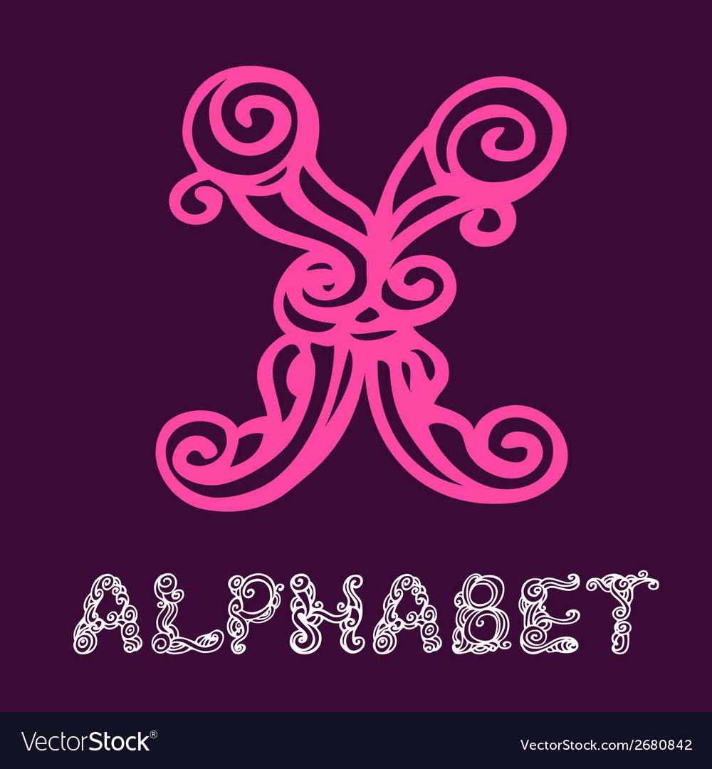 Doodle hand drawn sketch alphabet letter x vector | Price: 1 Credit (USD $1)