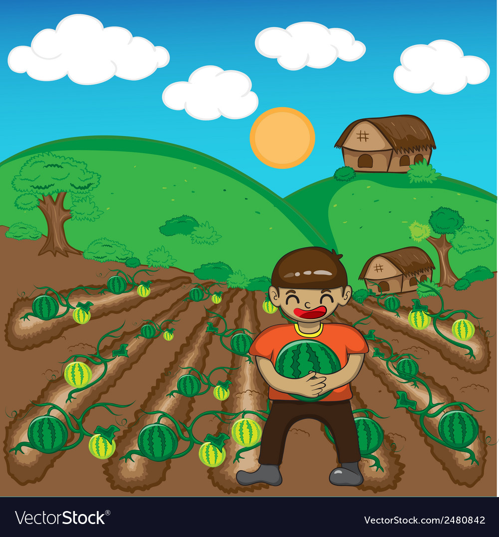 Farmer and watermelon a harvest cartoon vector | Price: 1 Credit (USD $1)
